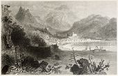 Old illustration of Salerno town and port. Created by Bartlett and Capone, published on Il Mediterra