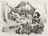 Old illustration of opium smokers in China. Created by Morin, published on Le Tour du Monde, Paris,