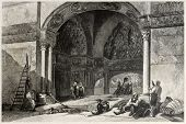Old illustration of Zisa castle vestibule, Palermo, Italy. Created by Leitch and Tingle, published on Il Mediterraneo Illustrato, Spirito Battelli ed., Florence, Italy, 1841
