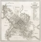 stock photo of bonaparte  - Old map of Saigon - JPG