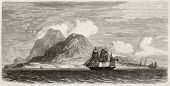Old illustration of Montserrat island, Caribbean sea. Created by Berard after Reclus, published on L