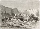 Old illustration of Zuni sacred spring, New Mexico. Created by Lancelot after report made under the direction of the U.S. secretary of the war. Published on Le Tour du Monde, Paris, 1860