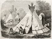Old illustration of a Tepee in Comanche native American camp. Created by Duveaux after report made u