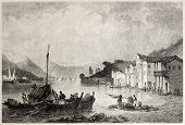 Old view of town and port of Bathi, Ithaca. Created by Bentley and Sands, published on Il Mediterran