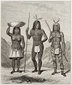 Old illsutration of Mohave people, native American. Created by Duveaux and Huyot after report made u