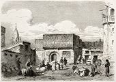 Suez, corn marketplace old illustration. Created by Lejean, published on Le Tour du Monde, Paris, 18