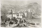 Esphigmenou monastery old view, Mount Athos, Greece. Created by Girardet after photo of unknown auth