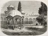 Great Lavra monastery with baptistry, old illustration: Mount Athos, Greece. Created by Lancelot aft