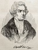 Ludwig van Beethoven old engraved portrait and autograph. By unidentified author, published on Magas