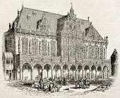 Rathaus Bremen alte Ansicht. von unbekannten Autor veröffentlicht am Magasin malerische, Paris, 1840