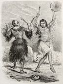 Yacutsk shamans old illustration. Created by Adam after De Rechberg, published on Le Tour du Monde,