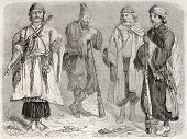 Persian men old illustration. Created by Laurens, published on Le Tour du Monde, Paris, 1860