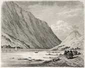 Bandak lake old view, Norway. Created by Dore after Riant, published on Le Tour du Monde, Paris, 186