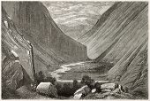 Heimdal valley old view, Norway. Created by Dore after Riant, published on Le Tour du Monde, Paris,
