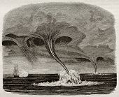 Waterspouts old illustration. By unidentified author, published on Magasin Pittoresque, Paris, 1842