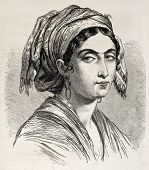 Giuseppina Bolognari old engraved portrait, heroin of Italiian Risorgimento in Catania, Sicily. Created by Marc, published on L'Illustration, Journal Universel, Paris, 1860