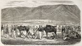French army mountain gunners during Kabylie expedition, Algeria. Created by Worms, published on L'Illustration, Journal Universel, Paris, 1860