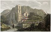 Santa Croce church old view, near Messina, Sicily. Created by De Wint and Cooke, printed by McQueen, publ. in London, 1821. Ed. on Sicilian Scenery, Rodwell and Martins, London, 1823