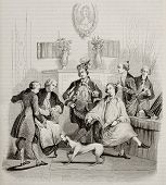 Aristocratic hairdressing old illustration. Created by Moreau, published on Magasin Pittoresque, Par