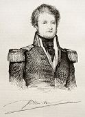 Jules Dumont d Urville old engraved portrait and signature (French explorer and naval officer). By unidentified author, published on Magasin Pittoresque, Paris, 1842