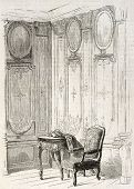 Chateau de Bercy library old illustration, France. By unidentified author, published on L'Illustrati