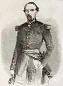 Old engraved portrait of Charles Marie Napoleon de Beaufort-d'Hautpoul, General in French Army. Created by Mar, published on L'Illustration, Journal Universel, Paris, 1860