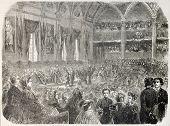 Prize giving ceremony inside the Sorbonne, Paris. By unidentified author, published on L'Illustration, Journal Universel, Paris, 1860