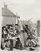 Bread distribution during 1709 famine in Paris. After old print by unknown author, published on Magasin Pittoresque, Paris, 1842