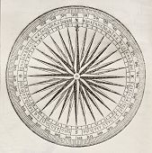 foto of wind-rose  - Wind rose old illustration - JPG