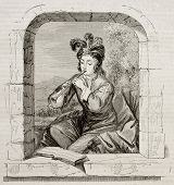The flutist, after picture of Van Hoeck, published on Magasin Pittoresque, Paris, 1843