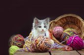 Kitten With Knitting Ravels In A Basket poster