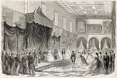 Napoleon III and Empress Eugenie receiving Lyonnais ladies in the Arts palace. Created by Godefroy-Durand, published on L'Illustration, Journal Universel, Paris, 1860
