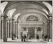 Caryatids hall old illustration, Louvre museum, Paris. By unidentified author, published on Magasin Pittoresque, Paris, 1843 poster