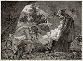 Atala Begräbnis alte Abbildung erstellt von Girardet nach dem Bild von Girodet im Louvre Museum aufbewahrt. p