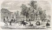 Jardin d'Acclimatation entrance, Paris. Created by Provost, published on L'Illustration, Journal Uni