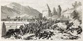 Battle of Volturnus, near Naples, Italy. Created by Worms, published on L'Illustration, Journal Univ