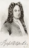 Gottfried Leibniz old engraved portrait and signature. After engraving of Gruzmaker, published on Ma