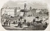 The round fountain old view, Aix-en-Provence, France. Created by Gaildrau after Gibert, published on L'Illustration, Journal Universel, Paris, 1860