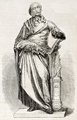 statue of Carl Maria Von Weber in Dresden, German composer. By unidentified author, published on L'Illustration, Journal Universel, Paris, 1860