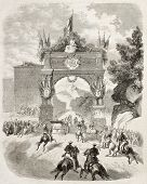 Empress Eugenie arrival at Eaux-Bonnes. Created by De Velasco, published on L'Illustration, Journal Universel, Paris, 1860