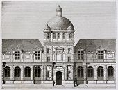 Tuileries palace old view, Paris. By Best, Leloir, Hotelin and Regnier, published on Magasin Pittore