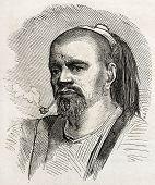 Druze man old engraved portrait. By unidentified author, published on L'Illustration, Journal Universel, Paris, 1860
