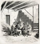 Garibaldian soldiers sitting around a inn table in Faro, near Messina. Created by Worms, published on L'Illustration, Journal Universel, Paris, 1860