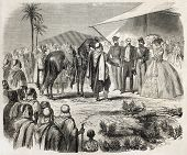 Napoleon III and Empress Eugenie receiving horses of Gaada as a gift by Algerian tribes. Created by Janet-Lange after Marc, published on L'Illustration, Journal Universel, Paris, 1860