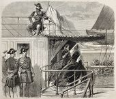 Napoleon III and Empress Eugenie aboard of the Aigle. Created by Marc,  published on L'Illustration, Journal Universel, Paris, 1860