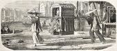 Litter in Shanghai. Created by Grandsire after Grevy de Saint-Malo and Baune, published on L'Illustration, Journal Universel, Paris, 1860