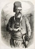 Yuseph Coram-Bey old engraved portrait, chief of Joun maronite camp. Created by Worms, published on
