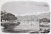 Grenoble old view, France. By unidentified author, published on Magasin Pittoresque, Paris, 1844