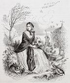 Autumn allegoric representation. Created by Grandville, published on Magasin Pittoresque, Paris, 1844