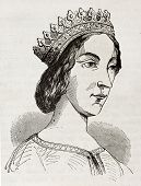 Jeanne de Laval old engraved portrait, second wife and queen consort of Rene of Anjou. After drawing
